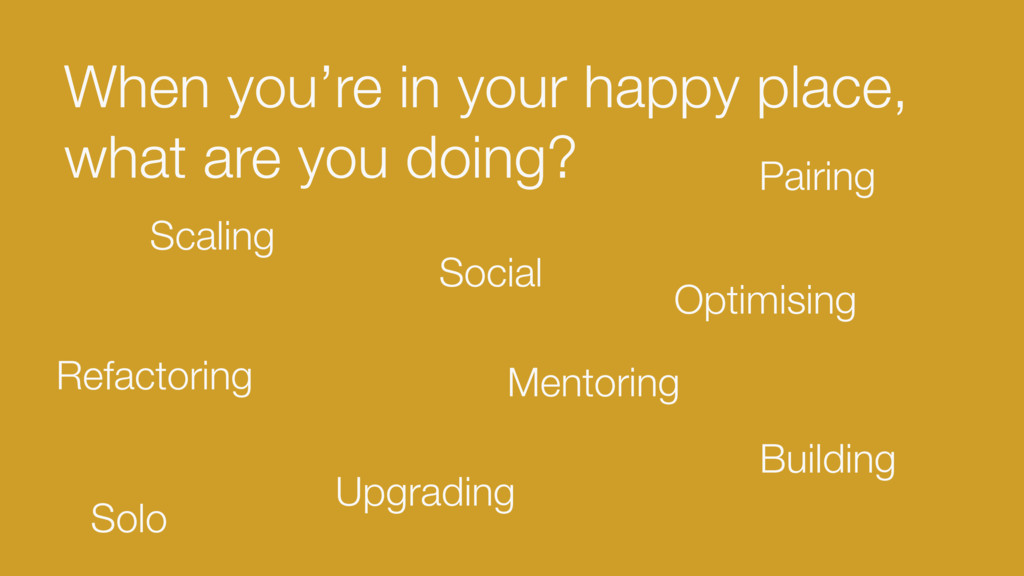 When you're in your happy place, what are you d...