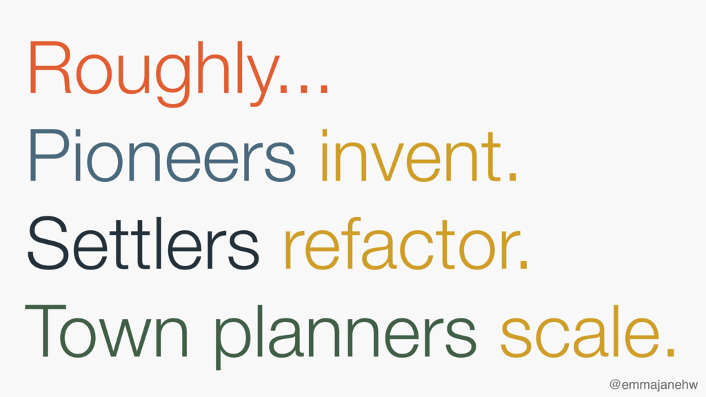 Roughly... Pioneers invent. Settlers refactor. ...