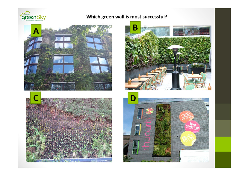 Which green wall is most successful? A B D C