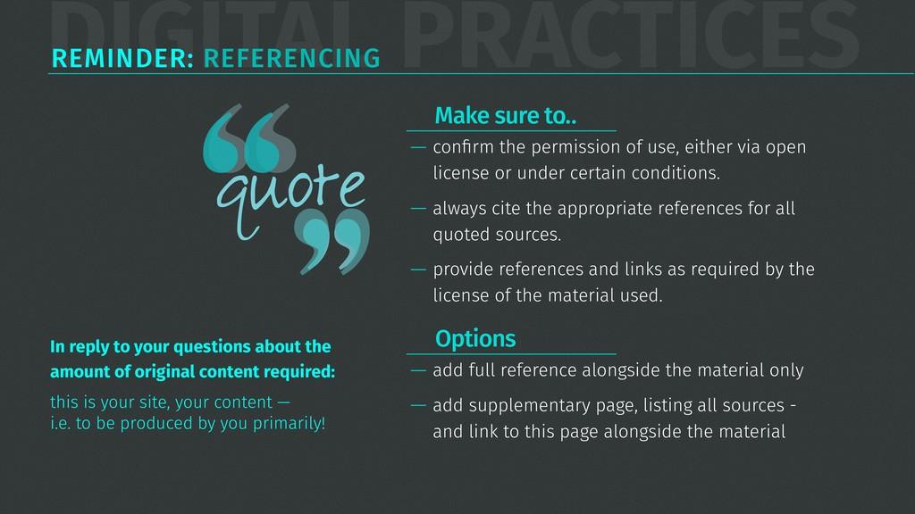 DIGITAL PRACTICES REMINDER: REFERENCING — confir...