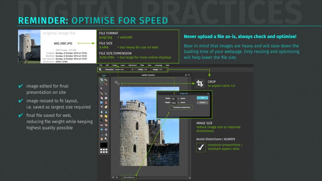 DIGITAL PRACTICES REMINDER: OPTIMISE FOR SPEED ...