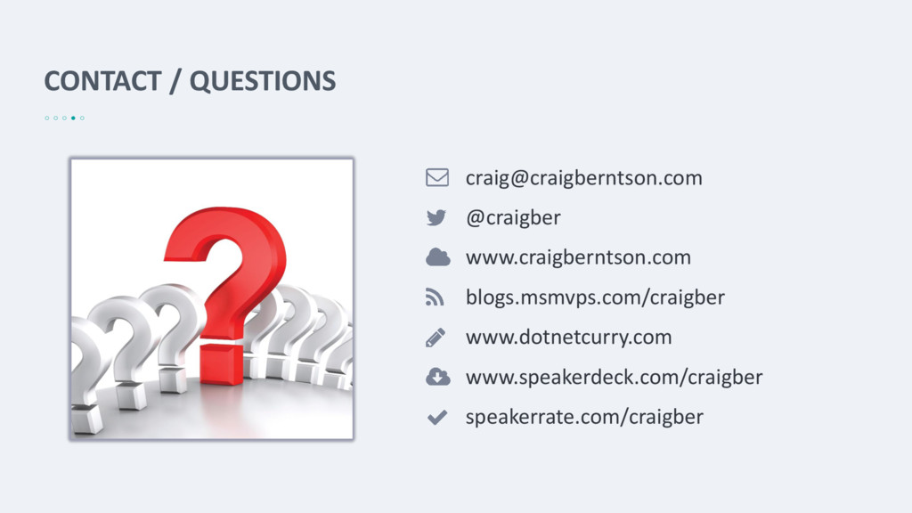 CONTACT / QUESTIONS craig@craigberntson.com @cr...