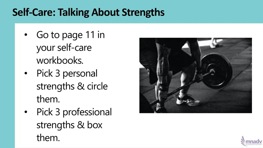 Self-Care: Talking About Strengths • Go to page...