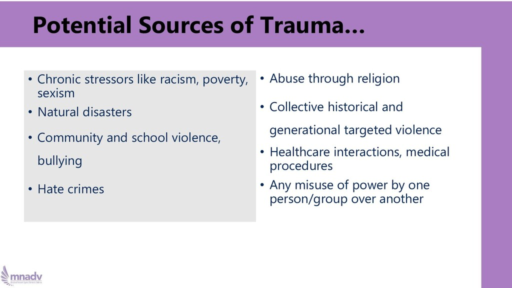 • Chronic stressors like racism, poverty, sexis...