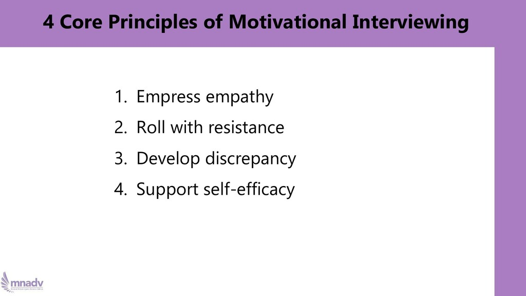 4 Core Principles of Motivational Interviewing ...