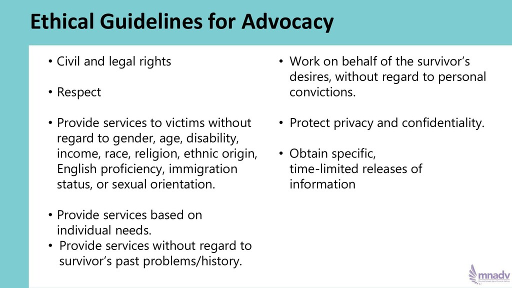 Ethical Guidelines for Advocacy • Civil and leg...