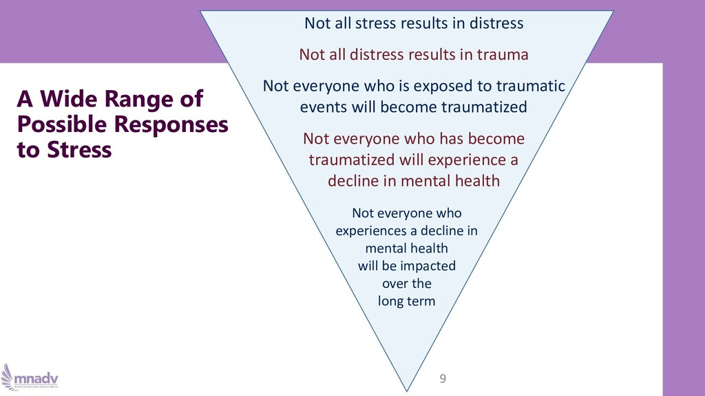 A Wide Range of Possible Responses to Stress 9 ...