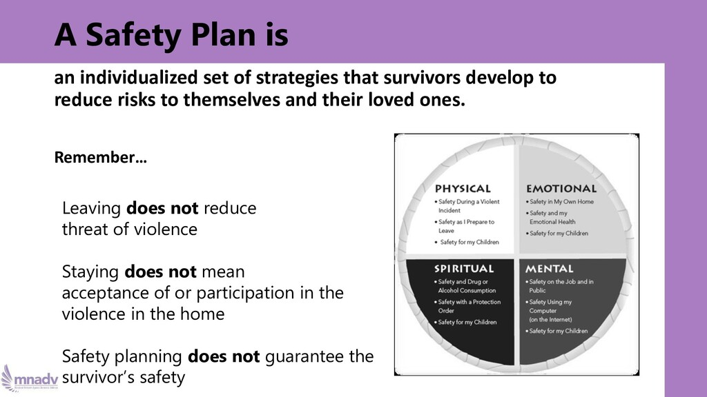 A Safety Plan is an individualized set of strat...
