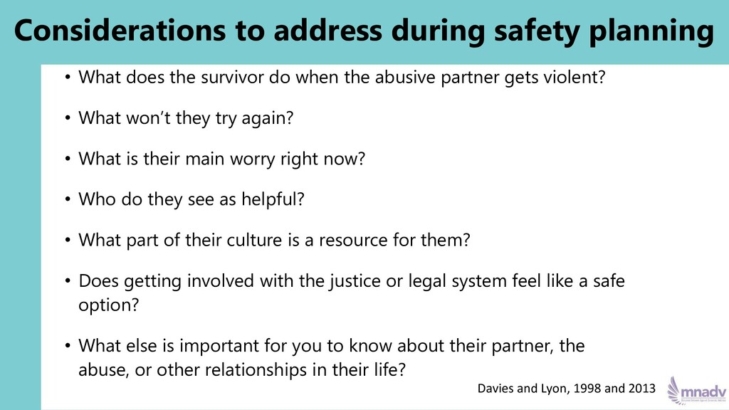 Considerations to address during safety plannin...
