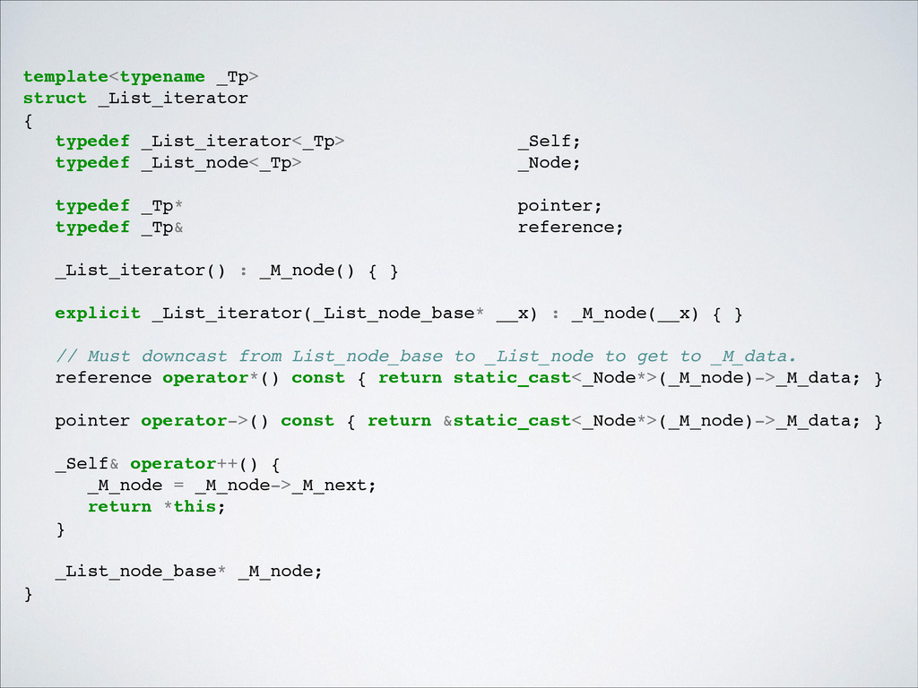 template<typename _Tp>! struct _List_iterator! ...