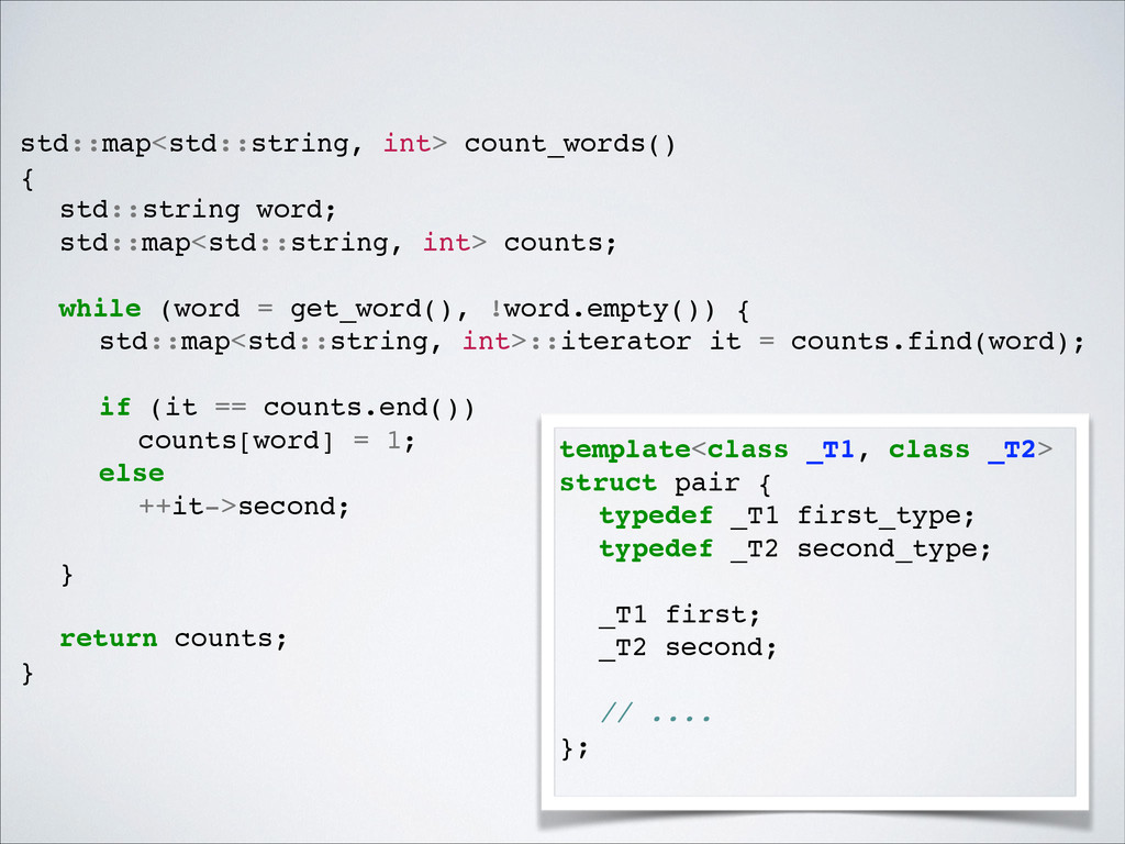 std::map<std::string, int> count_words() ! {! !...