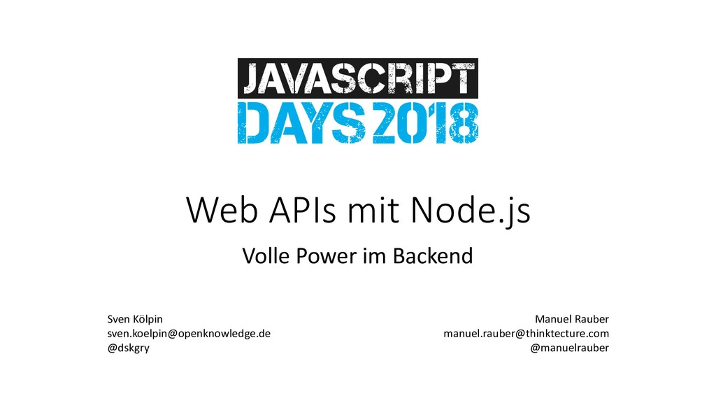 Web APIs mit Node.js Volle Power im Backend Sve...