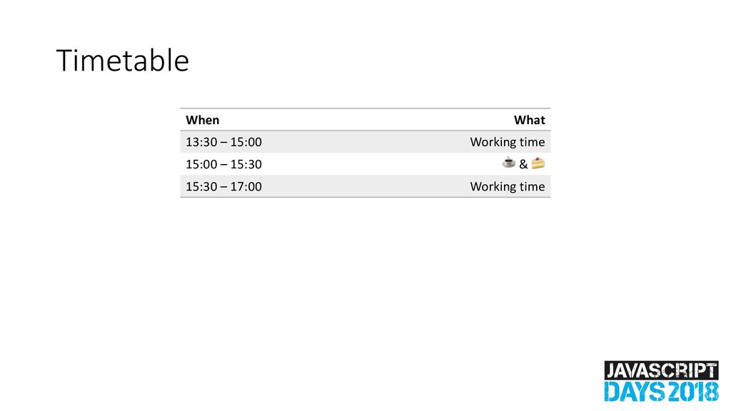 Timetable When What 13:30 – 15:00 Working time ...
