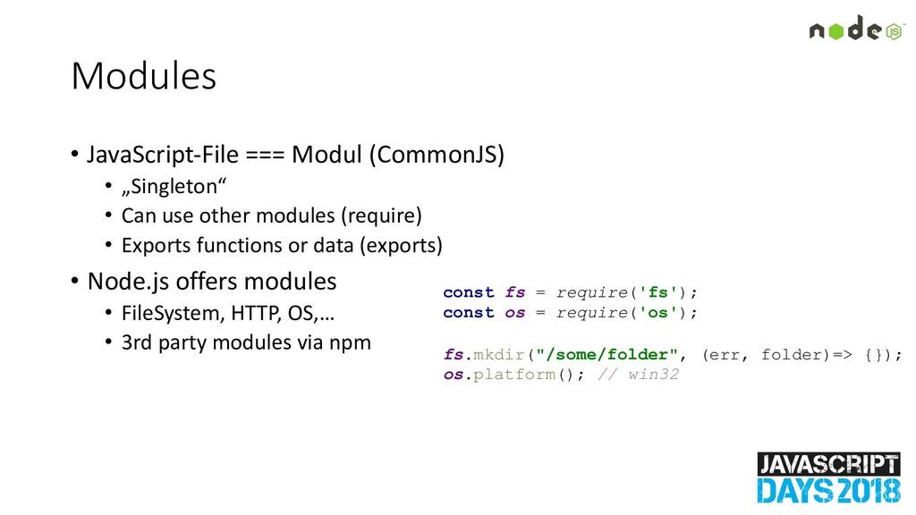 Modules • JavaScript-File === Modul (CommonJS) ...