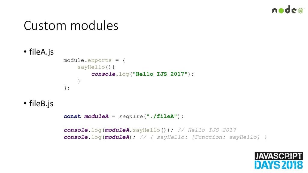 Custom modules • fileA.js • fileB.js module.exp...