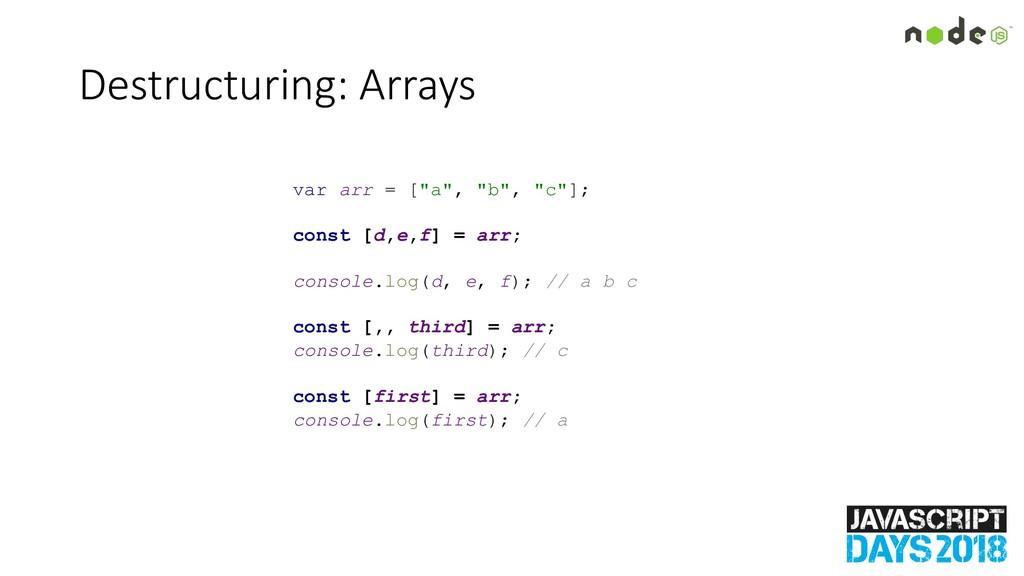 "Destructuring: Arrays var arr = [""a"", ""b"", ""c""]..."