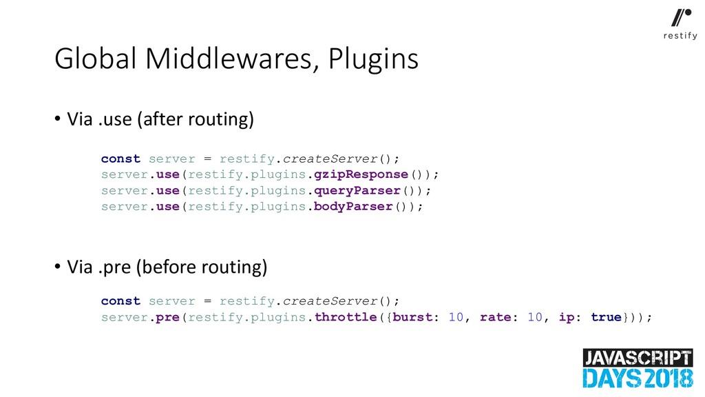 Global Middlewares, Plugins • Via .use (after r...