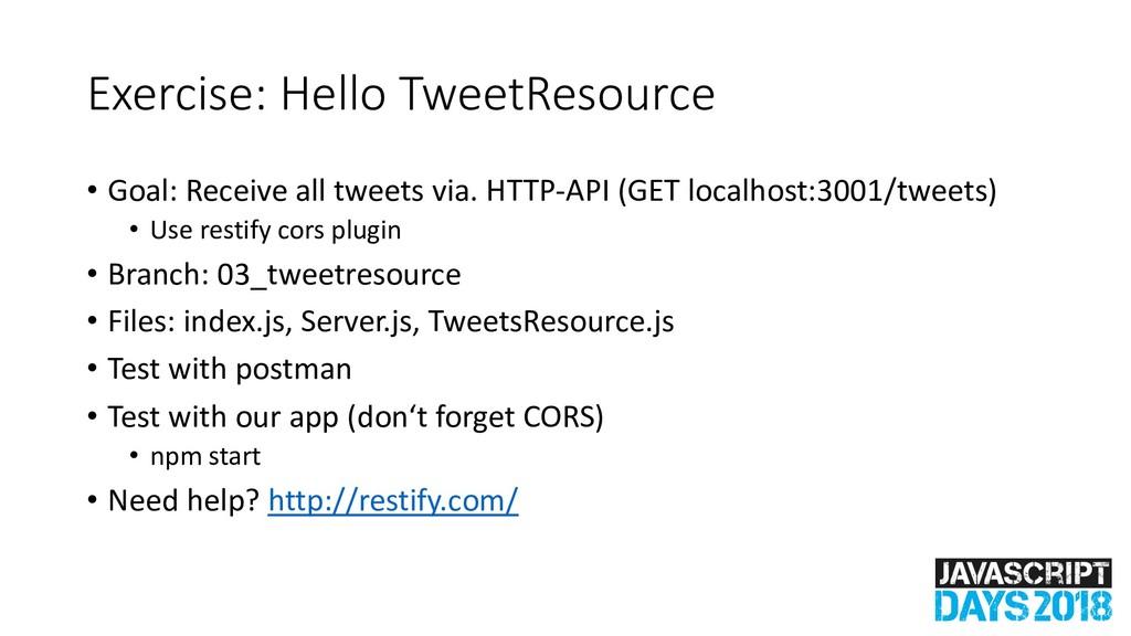 Exercise: Hello TweetResource • Goal: Receive a...