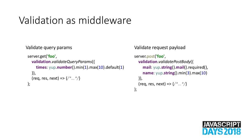 Validation as middleware server.get('foo', vali...