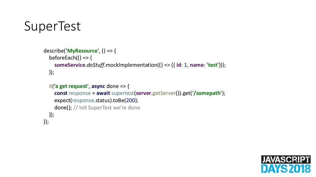 SuperTest describe('MyResource', () => { before...