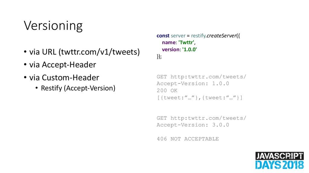 Versioning • via URL (twttr.com/v1/tweets) • vi...