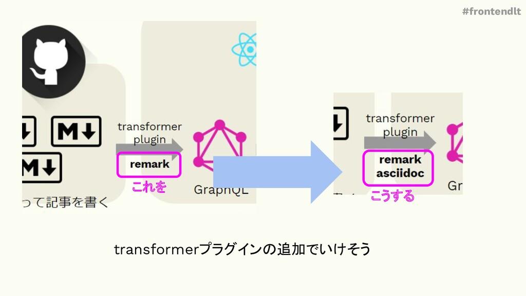 #frontendlt これを こうする transformerプラグインの追加でいけそう