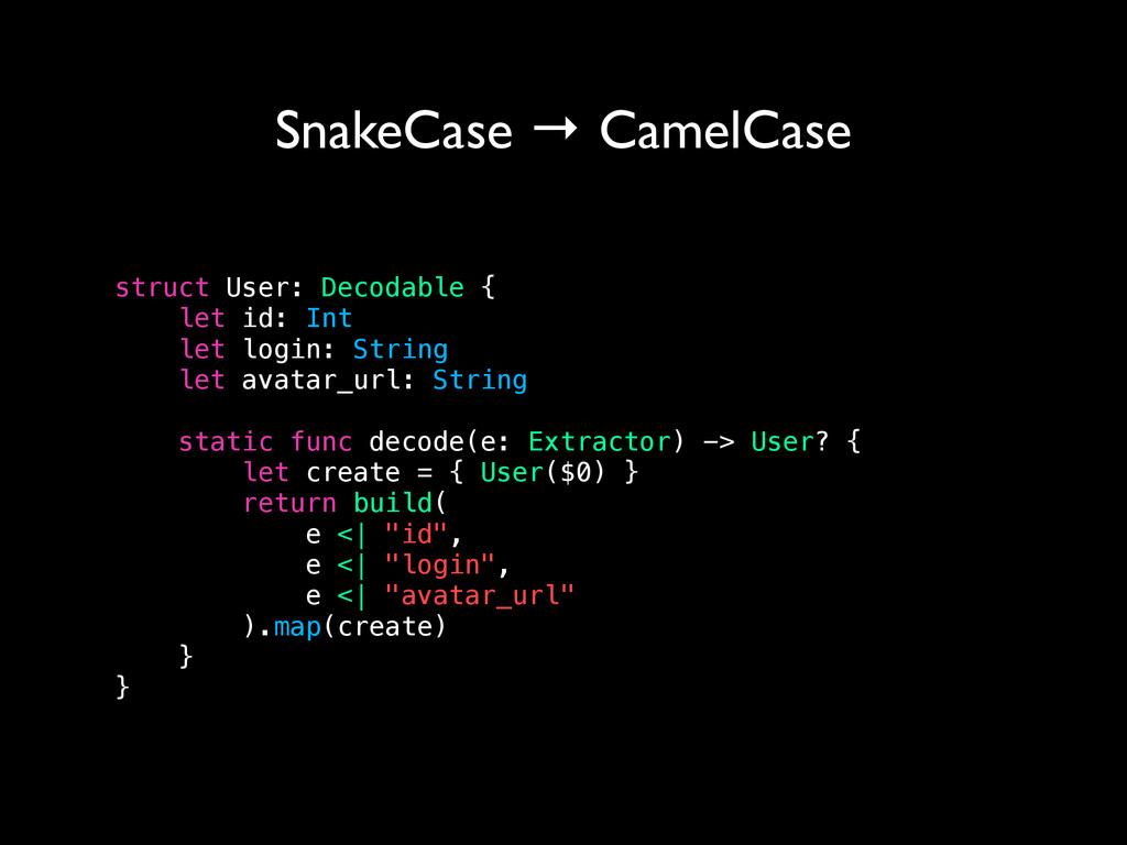 SnakeCase → CamelCase struct User: Decodable { ...