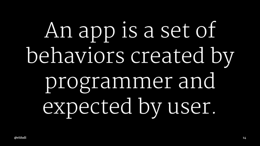 An app is a set of behaviors created by program...