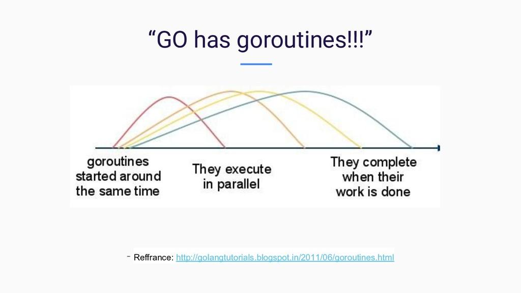 """GO has goroutines!!!"" - Reffrance: http://gola..."