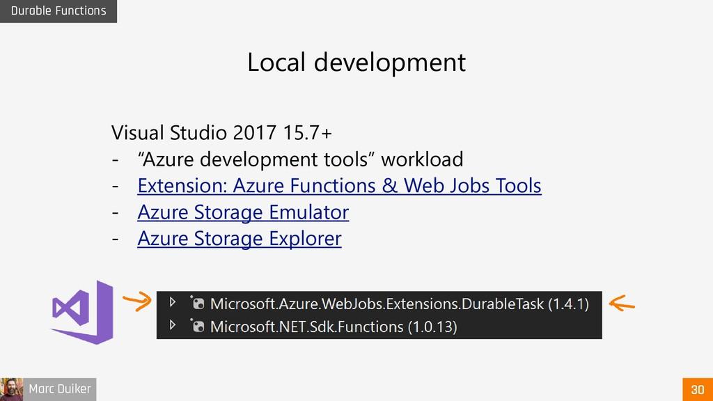 Marc Duiker Durable Functions Visual Studio 201...
