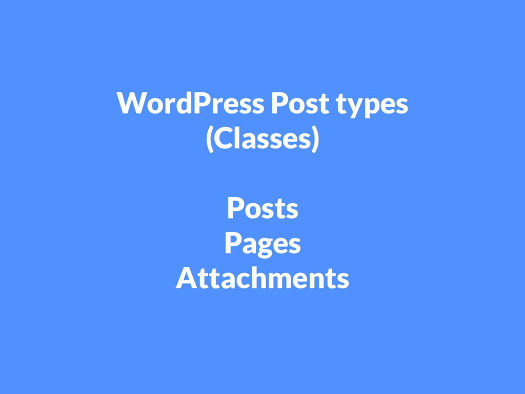 WordPress Post types (Classes) Posts Pages Atta...
