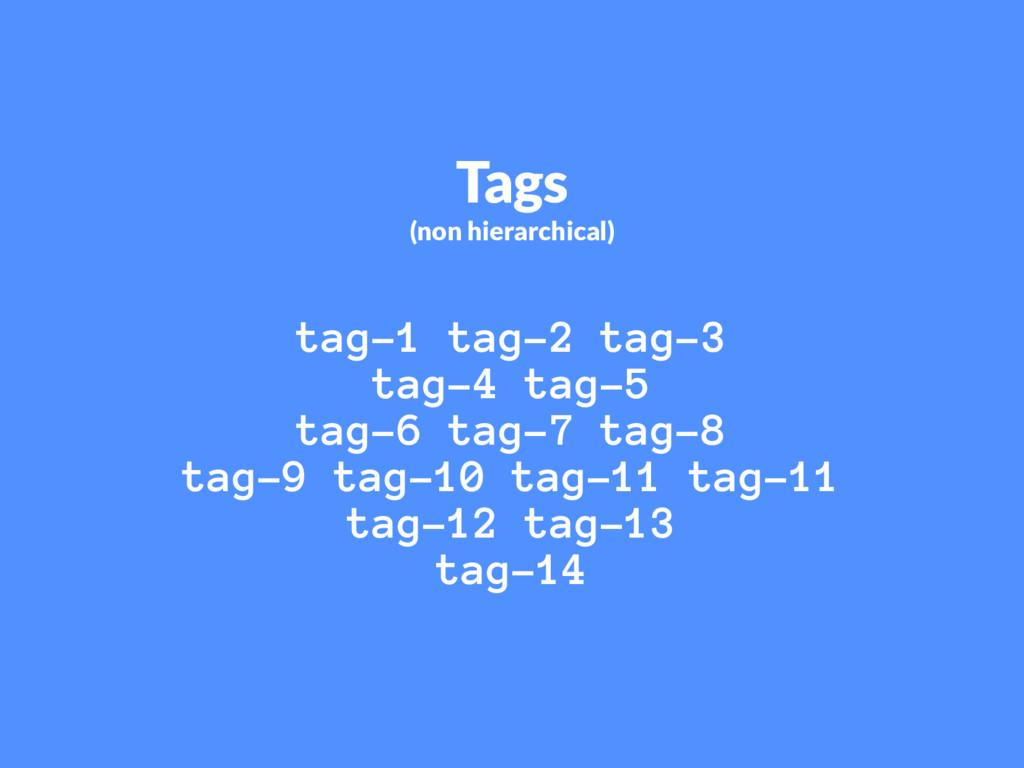Tags (non hierarchical) tag-1 tag-2 tag-3 tag-4...