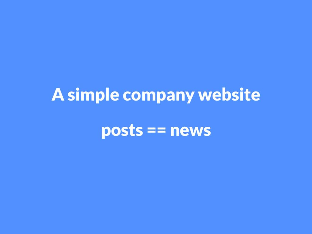 A simple company website posts == news