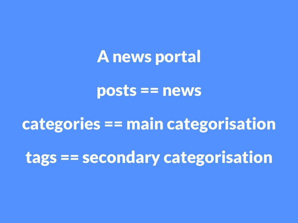 A news portal posts == news categories == main ...