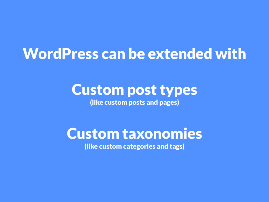 WordPress can be extended with Custom post type...