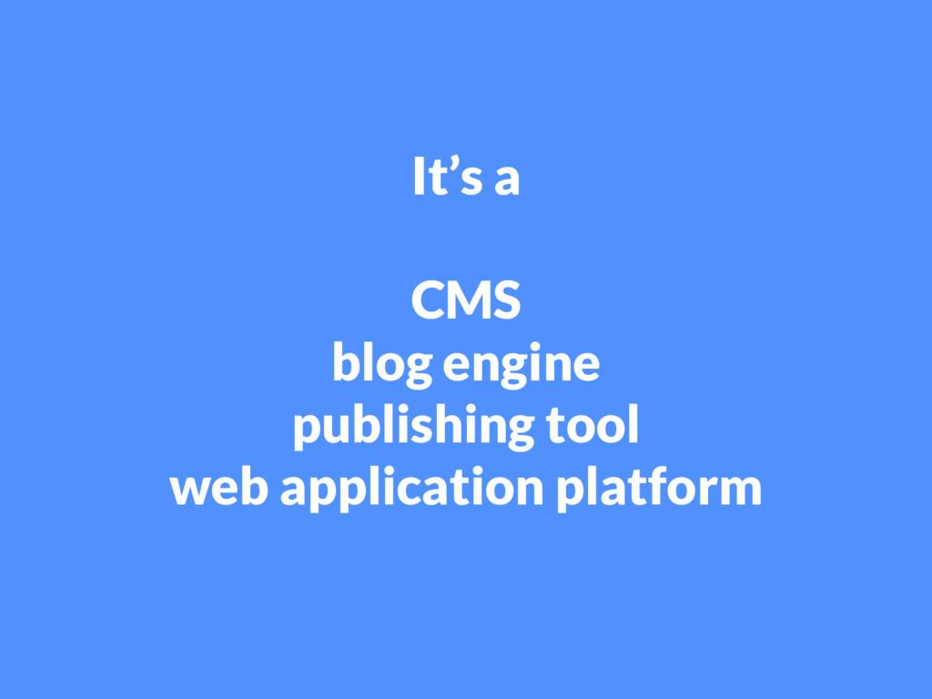 It's a CMS blog engine publishing tool web appl...