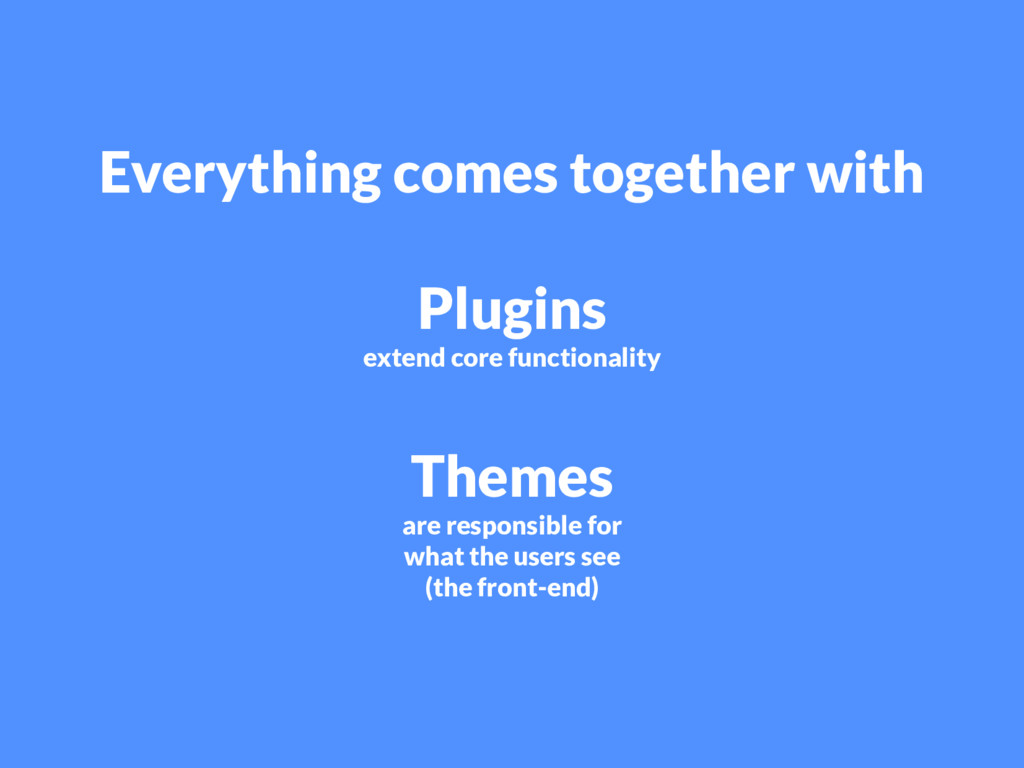Everything comes together with Plugins extend c...