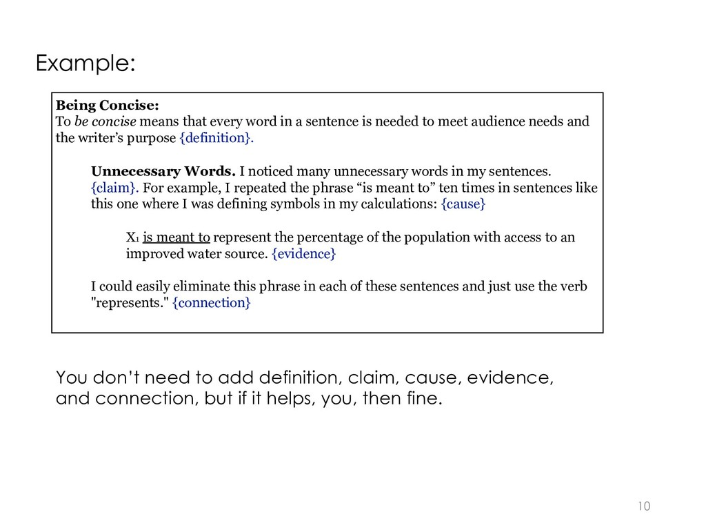 10 Being Concise: To be concise means that ever...