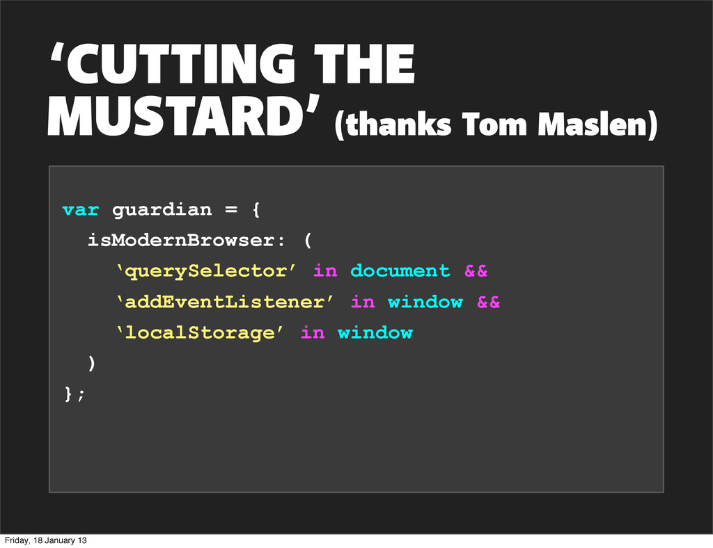 'CUTTING THE MUSTARD' (thanks Tom Maslen) var g...