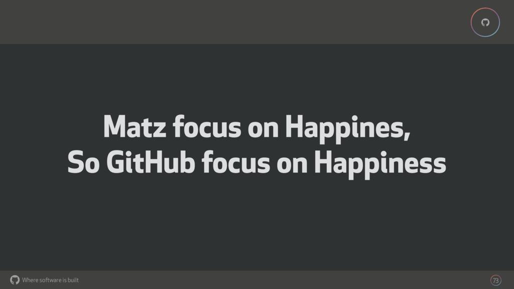 Where software is built % % 73 Matz focus on Ha...