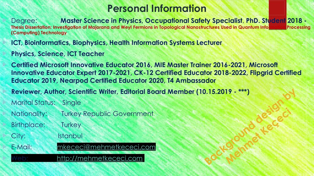 Personal Information  Degree: Master Science i...