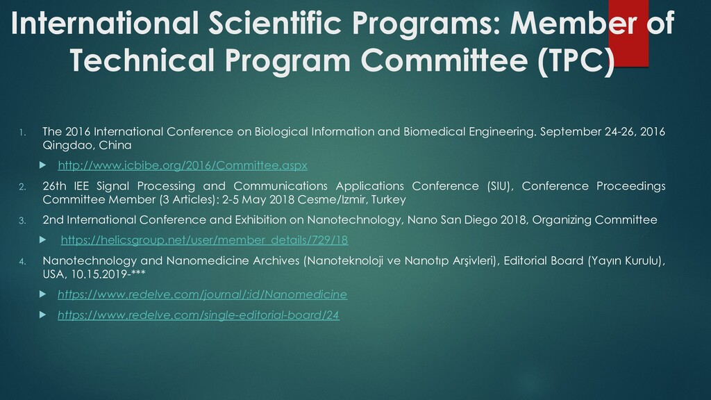 International Scientific Programs: Member of Te...