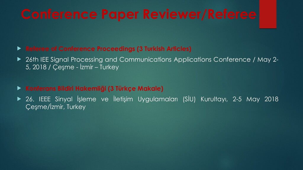 Conference Paper Reviewer/Referee  Referee of ...