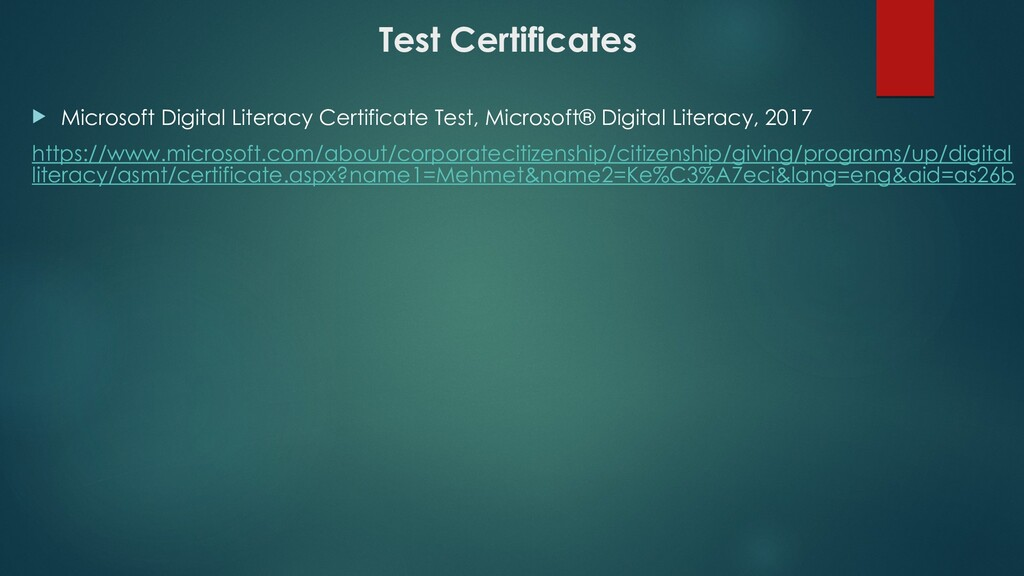 Test Certificates  Microsoft Digital Literacy ...