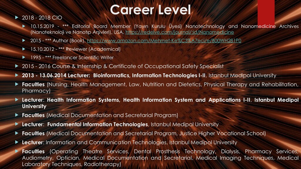 Career Level  2018 - 2018 CIO  10.15.2019 - *...