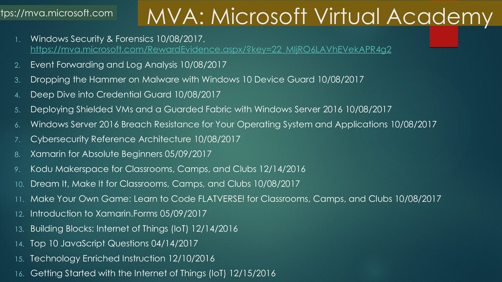 MVA: Microsoft Virtual Academy 1. Windows Secur...