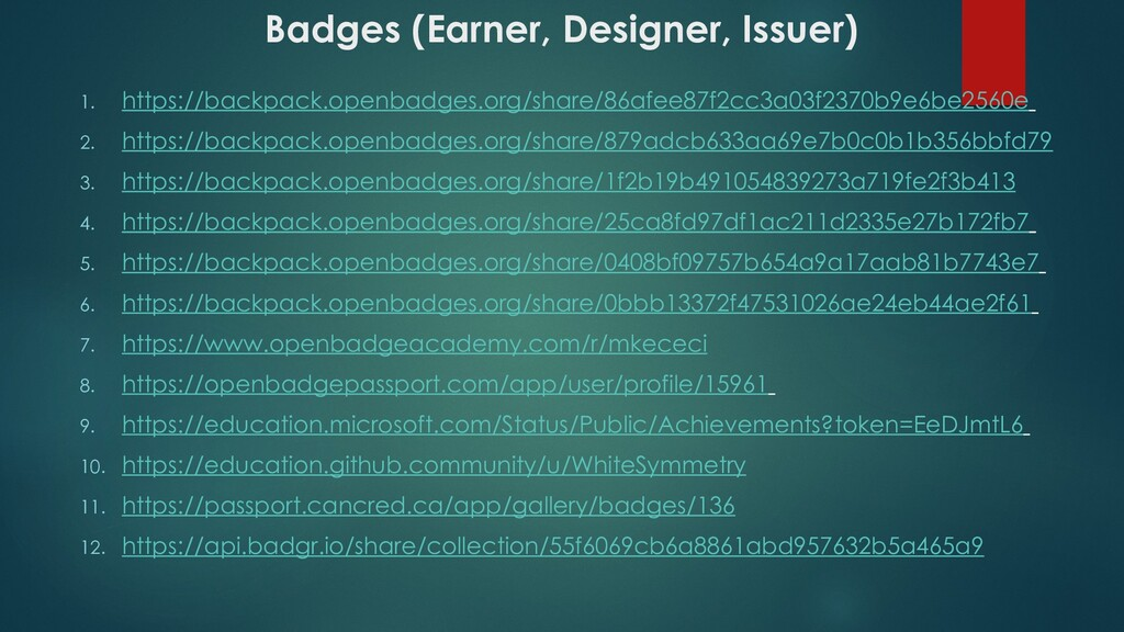 Badges (Earner, Designer, Issuer) 1. https://ba...