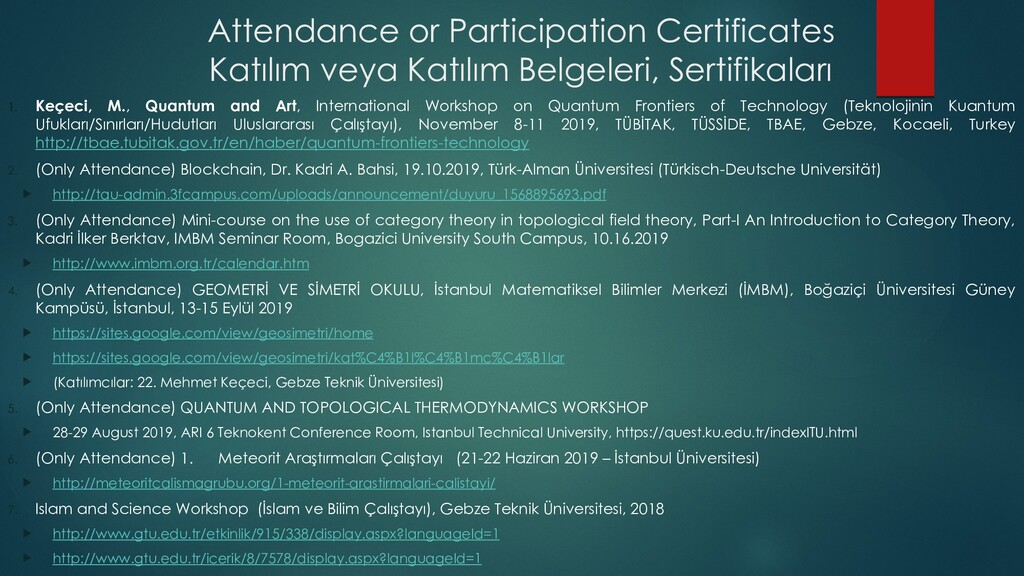 Attendance or Participation Certificates Katılı...
