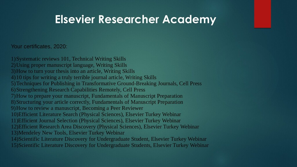Elsevier Researcher Academy Your certificates, ...