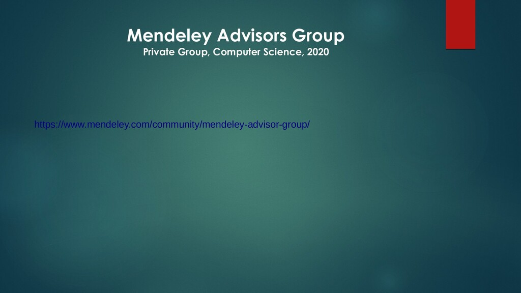 Mendeley Advisors Group Private Group, Computer...